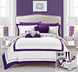Chic Home 9 Piece Joselito Contemprary geometric reversible Bold Lines hotel collection bed in bag, luxury decor pillows included Full Comforter Set Purple