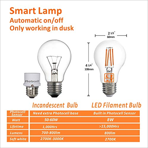 Edison E26 8W 800lm,Warm White Auto Turn On//Off ,AC120V,for Garden Garage Porch Dusk to Dawn LED Lights Bulb ETL Listed,Photocell Light Sensor Bulb 2700K Pack of 3 60W Incandescent Replacement