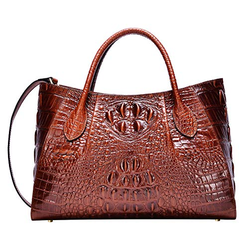 PIJUSHI Women Handbags Crocodile Top Handle Bag Designer Satchel Bags For Women (5002A, Brown) ()