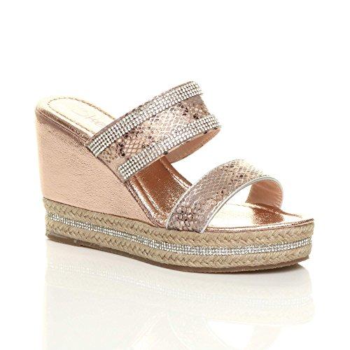 Ajvani Womens Ladies high Wedge Heel Diamante Strappy Platform Sandals Espadrilles Size Rose Gold Tjb5ah