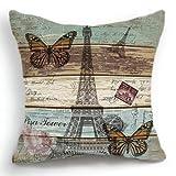 OJIA 18 X 18 Inch Cotton Linen Retro Vintage Paris Effiel Tower Butterfly Home Decorative Throw Pillow Cover Cushion Case