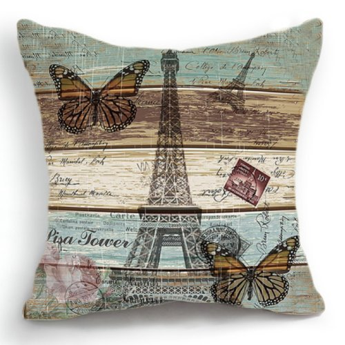 OJIA 18 X 18 Inch Cotton Linen Retro Vintage Paris Effiel To