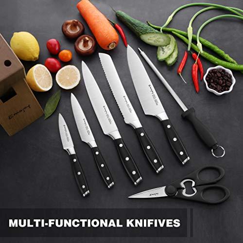 Knife Set, 8-Pieces Kitchen Knife Set with Block Wooden, Self Sharpening Manual for Chef Knife Set, German Stainless Steel, Emojoy (Gray) by Emojoy (Image #5)