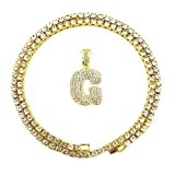 HH Bling Empire Iced Out Hip Hop Gold Faux Diamond Alphabet Letter Lucky Number Tennis Chain 20 Inch (Letter G -1)