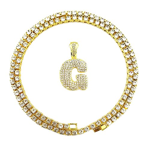 HH Bling Empire Iced Out Hip Hop Gold Faux Diamond Alphabet Letter Lucky Number Tennis Chain 20 Inch (Letter G -1) by HH Bling Empire