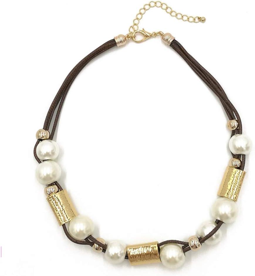 Weentop Faux de Las Mujeres Grandes Perlas Blancas Trenzadas Collar Grueso Collar Babero Conjunto Collar Gargantilla declaración Babero Collar (Color : Oro)