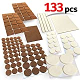Heavy Duty Felt Pads for Chair Legs Mighty X Combo Felt Furniture Premium Pad Protectors w/ Adhesive - 133 Pcs, Under Furniture Legs, Feet, Dining Table, Couches, Vases. Protect Hardwood Floors. Protect All Surfaces (Combo Brown/Beige)
