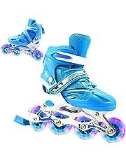 BATYY Patins para crianças, meninos e meninas e adultos, patins 2 em 1 com 4 tamanhos de patins ajustáveis, patins com rodas iluminadas e design superior brilhante