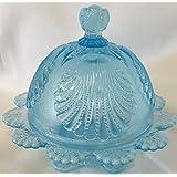 Butterdish - Shell - Blue Opalescent Glass - Mosser USA