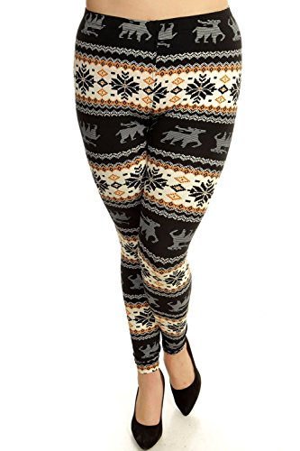 Always Plus Size Leggings - Trendy Holiday Print - Superb Quality, Moose/Snowflake, Stretch 14-18