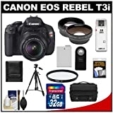Canon EOS Rebel T3i Digital SLR Camera Body and EF-S 18-55mm IS II Lens with 32GB Card + .45x Wide Angle and 2x Telephoto Lenses + Battery + Remote + Filter + Tripod + Accessory Kit, Best Gadgets