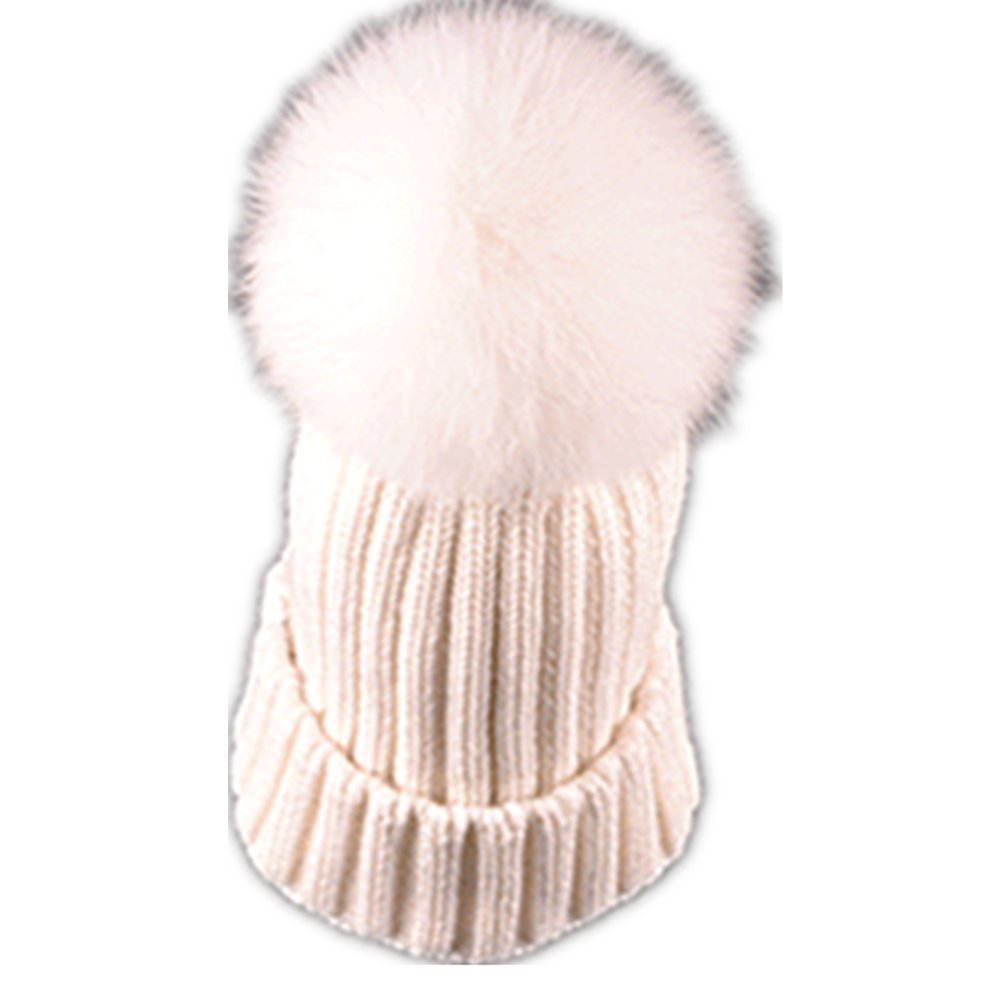 Adult Lady Natural Real Fox Fur Pom Poms Beanie Hat Cap Ball Warm Winter Knitted Hat B01E19DE94