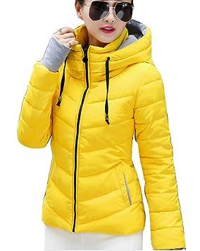 0de7bec7a6129 Shaoyao Mujer Abrigos Plumas Corto Cazadoras Invierno Cálido Espesar  Chaquetones Amarillo S  Amazon.es  Deportes y aire libre