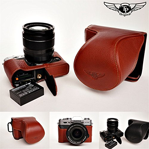 Handmade Genuine real Leather Full Camera Case bag cover for FUJIFILM XT10 with 16-50 mm &18-55mm Compact System camera Bottom opening Version - Brown by TP
