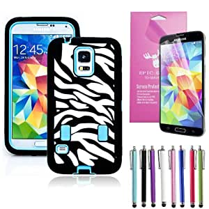 Epic Gadget(TM) Samsung Galaxy S5 i9600 Hybrid Heavy Duty Protective Combo Case Light Blue Zebra Cover Skin With Built in Screen Protector + Free Screen Protector and 1 Stylus Pen (Zebra Blue Case)