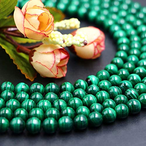 Nature Stone Round Loose Gemstone Bead for Jewelry Making DIY barcelet Necklace (AAAAA M alachite, 8mm(47-50pcs/string))