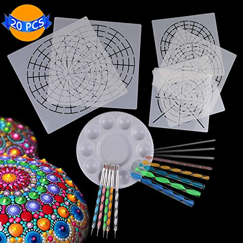 LOCOLO Mandala Dotting Tools, 6 Mandala Stencils, 5 Double Sided Dotting Tools, 8 Acrylic Rod, 1 Paint Tray - Mandala Art Dotting Tools for Painting Rocks Canvas Wood by LOCOLO