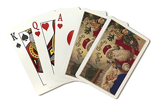 Christmas Greeting - Santa Hanging Ornaments (Playing Card Deck - 52 Card Poker Size with Jokers)
