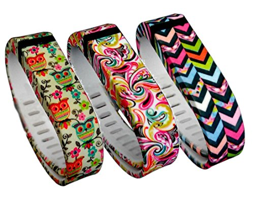 Smart Tech Store 3PCS Set Waves Lines, Colorfull Flowers and Cute Owles Style Replacement Band With Clasp for Fitbit FLEX Only /No tracker/ Wireless Activity Bracelet Sport Wrist band Fit Bit Flex Bracelet Sport Arm Band Armband