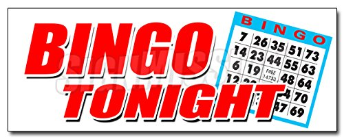 48'' BINGO TONIGHT DECAL sticker public welcome free cards cash play win