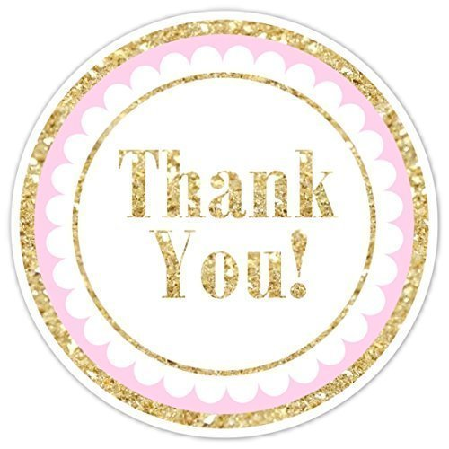 Gold and pink thank you stickers 36 stickers gold glitter print thank you