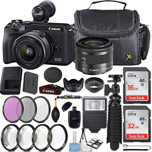 Canon EOS M6 Mark II Mirrorless Camera (Black), EVF-DC2 Viewfinder Kit, with EF-M 15-45mm f/3.5-6.3 is STM + 48GB Memory and Accessory Kit.