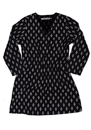 - Ayurvastram KRITI Hand Block Printed Cotton V Neck Tunic: Black L