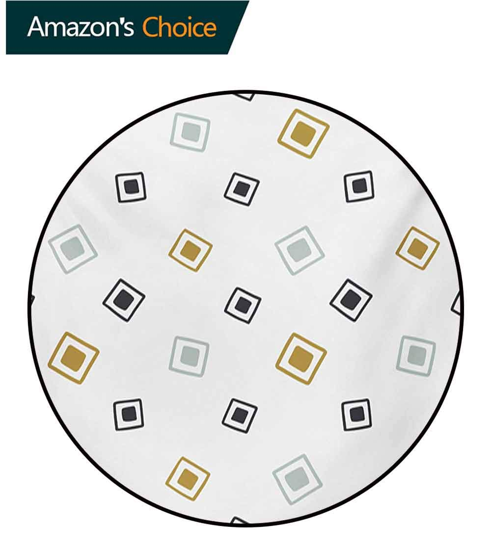 RUGSMAT Native American Modern Machine Washable Round Bath Mat,Tribal Pattern Random Squares Geometric Native Aztec Influences Non-Slip Soft Floor Mat Home Decor,Diameter-71 Inch Baby Blue Gold Black by RUGSMAT (Image #6)