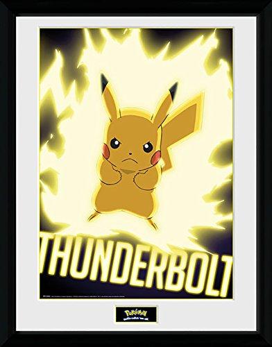 Pokemon Thunder Bolt Pikachu - Mounted & Framed Print - 44 x 34 cm (Approx 18 x 14 Inches) -