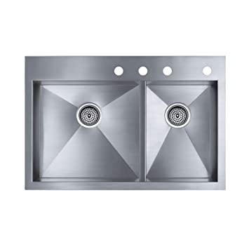 Amazon kohler vault undermount stainless steel 33x22x93125 4 kohler vault undermount stainless steel 33x22x93125 4 hole double bowl kitchen sink workwithnaturefo
