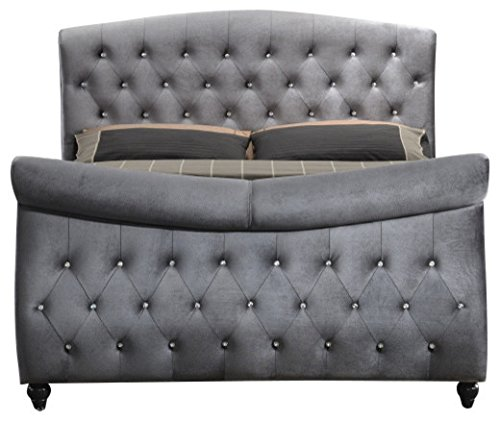 Meridian Furniture Hudson-Sleigh-Q Hudson Collection Grey Velvet Upholstered Sleigh Bed with Crystal Button Tufting, and Custom Solid Wood Legs, Grey, Queen ()
