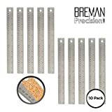 Stainless Steel Metal Ruler 10 Pack – Set of Flexible 12 Inch Office Rulers with Non Slip Cork Back Providing Optimal Precision (10 Pack)