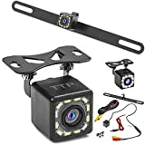 Car Backup Camera 2-in-1 Rear View Camera HD 12 LEDs Night Vision Reverse Camera 170° Viewing Angle, Easy to Install License Plate Back up Car Camera Or Bracket Mount Reversing Camera - Fits All Cars