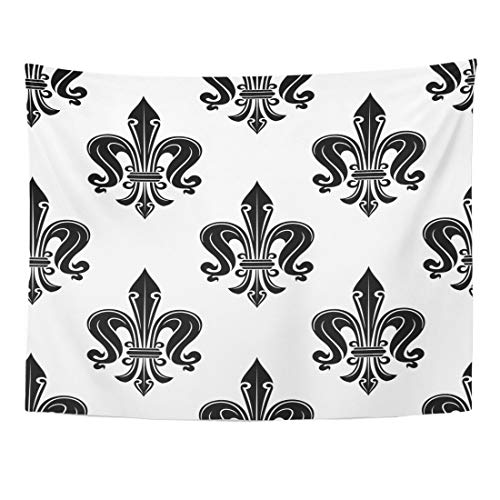 Emvency Tapestry 80 x 60 Inches Gothic Antique French Fleur De Lis Elegant Black Flowers in Victorian on White Use As Home Decor Tapestries Wall Hangings Art Living Room Bedroom Dorm