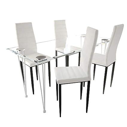 4 Lot chaises vidaXL Noires avec de aux Lignes Fines Table UzSMVqp