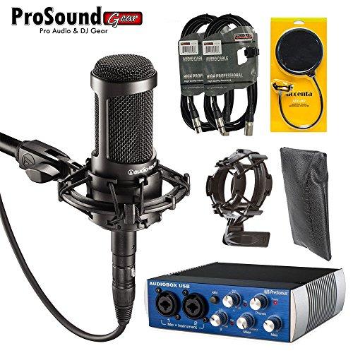 Audio-Technica AT2035 Large Diaphragm Studio Condenser Microphone Bundle with Presonus AudioBox USB, Shock Mount, Accenta Pop FIlter, Mic Bag and XLR Cables (ProSoundGear) Authorized Dealer