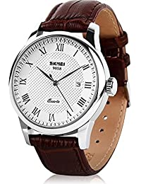 Mens Business Leather Band Watch, Military Casual Analog...