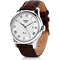 Mens Business Leather Band Watch, Military Casual Analog Quartz Waterproof Watches with Calendar Date Dress Fashion Wristwatch - Brown