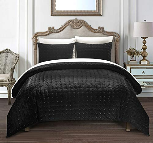 Chic Home Chyna 3 Piece Comforter Set Luxurious Hand Stitched Velvet Bedding - Decorative Pillow Shams Included King Black