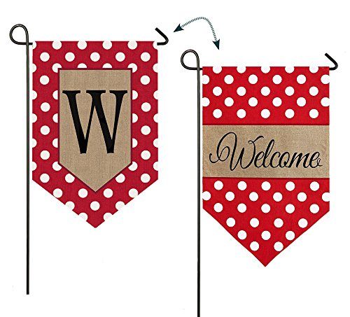 "Evergreen Polka Dot Welcome Monogram ""W"" Double-Sided Burlap"