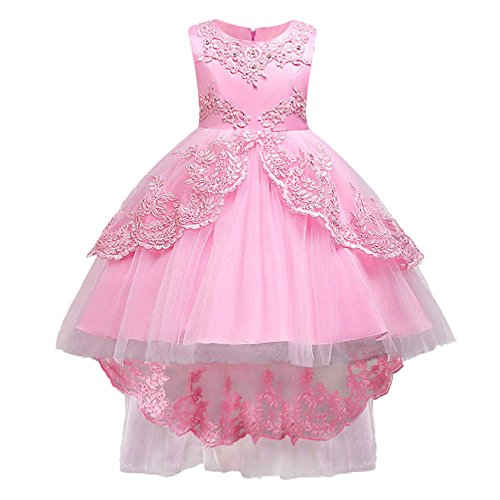 HUANQIUE Girls Pageant Party Dresses High Low Wedding Flower Girl Gowns Pink 4-5 T
