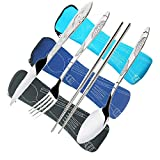 3 Pack Stainless Steel Flatware Sets, CKANDAY 12 Pcs Knife Fork Spoon Chopsticks Set with Carrying Case Rustproof Tableware Silverware for Traveling Camping Picnic Working Hiking-Black/Blue/Light Blue