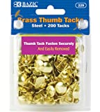 BAZIC Brass Thumb Tack, Gold, 200 Per Pack