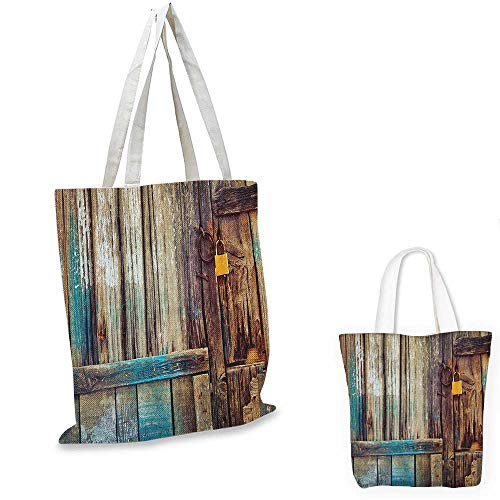 Rustic canvas laptop bag Aged Shed Door Backdrop with Color Details Country Living Exterior Pastoral Mansion Image canvas tote bag with pockets Brown. 12