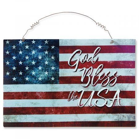 Lillian Vernon Patriotic American Flag Metal Door Plaque- God Bless the USA Sign, 9 1/2