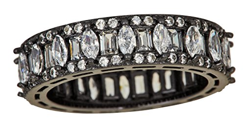 ilver Black Rhodium Baguette & Round Cut Cubic Zirconia Eternity Band Emerald Ring ()