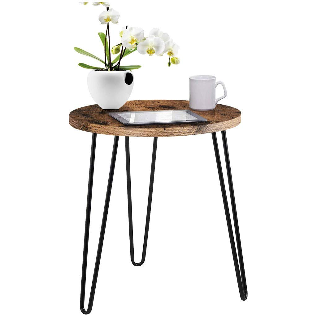 shamoluotuo Industrial End Table Round Chair Side Table Vintage Night Stand Telephone Table Corners Bedside Beside Cabinet Lamp Desk for Living Room & Bedroom Office Use (Retro Brown, 19.7''D) by shamoluotuo-Furniture