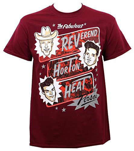Reverend Horton Heat Maroon Poster T-Shirt (Medium) (Reverend Horton Heat T Shirt)