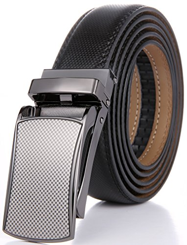 Marino Avenue Men's Genuine Leather Ratchet Dress Belt with Linxx Buckle - Gift Box (Silver Checkboard Design Buckle with Black Leather, Adjustable from 38