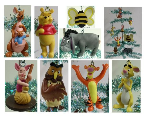 Disney Winnie the Pooh Set of 8 Holiday Christmas Tree Ornaments Featuring 100 Acre Woods Pooh Bear Bumble Bee, Wise Old Owl, Piglet, Kanga, Tigger, Pooh Bear, Eeyore, and Rabbit - Unique Shatterproof Design - Great for Kids (Pooh Christmas Ornament)